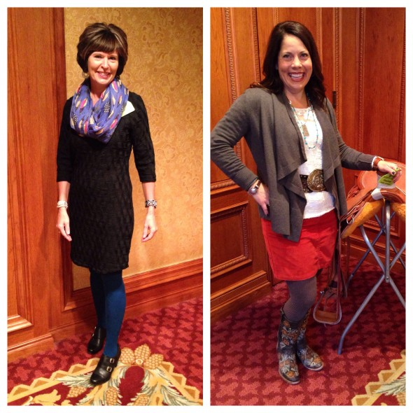 ICA's President-Elect, Laurie Lickley (left), paired her little black dress with a pair of blue tights, and topped with off with a chic feather print scarf. On the right, Heather Tiel-Nelson isn't afraid of a little color, rocking a orange skirt with brown tights and floral embroidered boots. Her wide belt and buckle really tie it all together!
