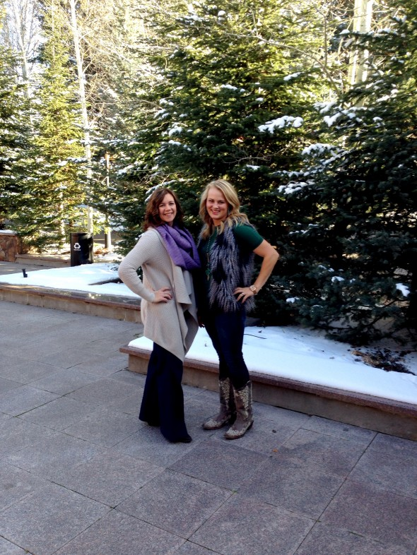 "Maggie Malson, left, pulled off the ""effortlessly fashionable"" vibe that every woman wants, in a pair of dark wash denim trousers, snip toe boots, and high-low cardigan. I took the comfortable route, pairing a piko tunic with my favorite fur vest, denim leggings and Corral boots."