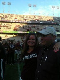 Tay's husband, Jared, is a graduate of Texas A&M University, so the couple try to make it back as often as possible to catch a football game. Go Aggies!