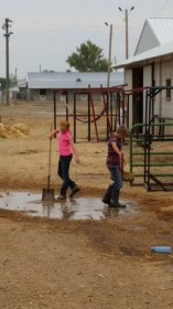 Working and playing with my friend after a big rainstorm at the fair.